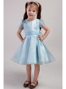 Blue A-line Scoop Knee-length Organza Bowknot Little Girl Dress
