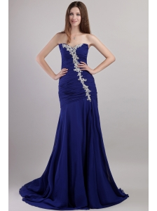 Blue Sheath / Column Sweetheart Chapel Train Chiffon Appliques Prom Dress