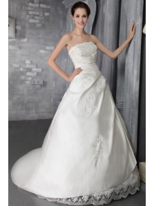 Brand New A-Line / Princess Strapless Court Train Elastic Wove Satin Lace Wedding Dress