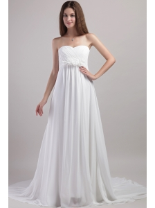Brand New Empire Sweetheart Chapel Train Chiffon Handle Flowers Wedding Dress
