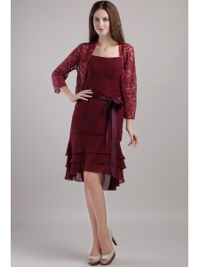 Burgundy Column / Sheath Straps Knee-length Chiffon Sash Mother of the Bride Dress