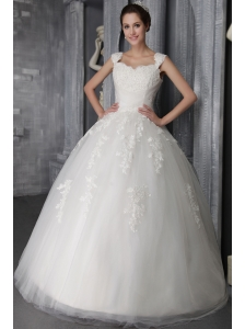Elegant Ball Gown Straps Floor-length Tulle Lace Appliques Wedding Dress