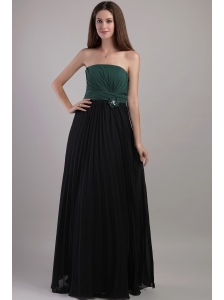 Elegant Peacock Green and Black Empire Strapless Floor-length Chiffon Handle Flowers Bridesmaid Dress