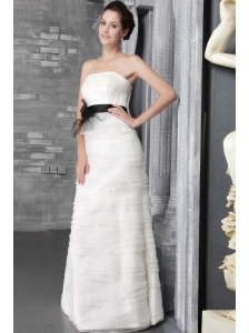 Exclusive Empire Strapless Floor-length Organza Ruffles Wedding Dress