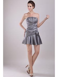 Grey Column Strapless Mini-length Taffeta Ruch Prom / Cocktail Dress