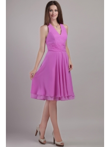 Lavender Empire Halter Top Knee-length Chiffon Bridesmaid Dress