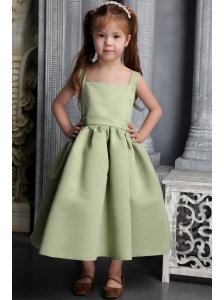 Olive Green A-line Straps Tea-length Satin Belt and Bowknot Little Girl Dress