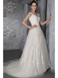 Perfect A-Line / Princess Straps Court Train Tulle Appliques Wedding Dress