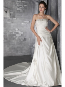 Popular A-Line/Princess Strapless Court Train Satin Beading Wedding Dress
