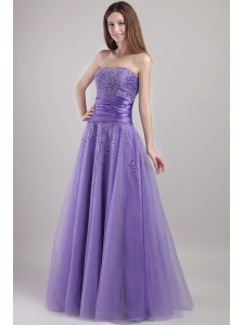 Lilac Empire Strapless Floor-length Tulle Beading Prom / Party Dress