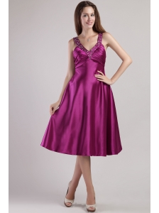 Fuchsia Empire V-neck Ankle-length Elastic Woven Satin Beading Prom / Pageant Dress
