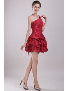 Red A-Line / Princess One Shoulder Mini-length Taffeta Beading Prom / Homecoming Dress