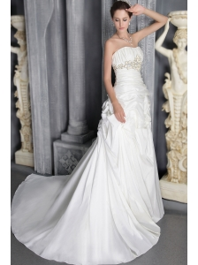 Romantic Column/Sheath Strapless Court Train Taffeta Beading Wedding Dress