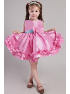 Rose Pink Princess Scoop Knee-length Taffeta Belt and Handle Made Flowers Little Girl Dress