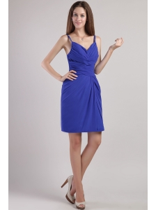 Royal Blue Column / Sheath Straps Mini-length Chiffon Beading Bridesmaid Dress