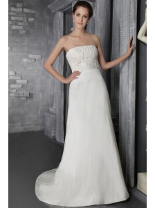 Simple Empire Strapless Brush Train Taffeta Appliques Wedding Dress