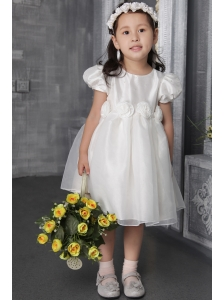 White A-line / Princess Scoop Tea-length Organza Hand Made Flowers Flower Girl Dress