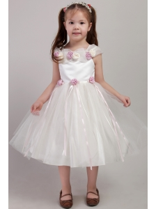 White A-line Square Tea-length Tulle Handle Made Flowers Little Girl Dress
