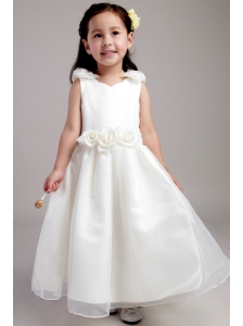 White A-line Straps Ankle-length Taffeta and Organza Hand Made Flowers Flower Girl Dress