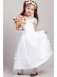 White A-line Square Ankle-length Taffeta and Tulle Hand Made Flowers Flower Girl Dress