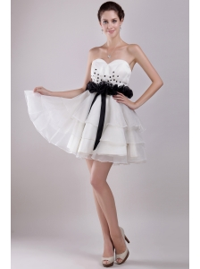 White A-Line / Princess Sweetheart Mini-length Organza Ruffles Prom Dress