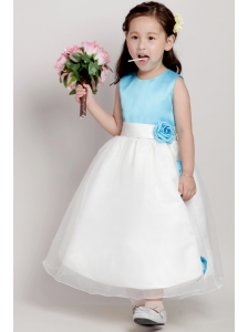 White and Blue A-line Scoop Ankle-length Taffeta and Organza Hand Made Flowers Flower Girl Dress