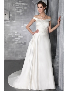 Affordable Column/Sheath Off The Shoulder Court Train Satin Wedding Dress