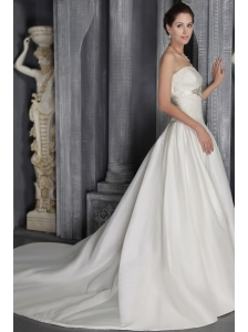 Modest Column/Sheath Strapless Court Train Satin Lace Wedding Dress