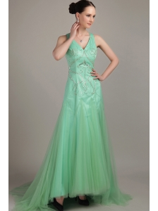 Apple Green Empire V- neck  Brush / Sweep Tulle Beading Prom Dress