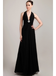 Black Column / Sheath Halter Floor-length Chiffon Beading and Ruch Prom / Evening Dress