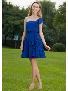 Royal Blue A-line One Shoulder Mini-length Chiffon Bridesmaid Dress