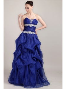 Royal Blue A-line Sweetheart Floor-length Taffeta and Organza Beading Prom Dress