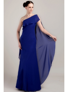 Blue Column / Sheath One Shoulder Floor-length Chiffon Prom / Celebrity Dress