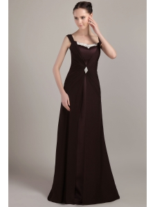 Brown Column / Sheath Square Brush Train Chiffon Ruch and Appliques Mother Of The Bride Dress
