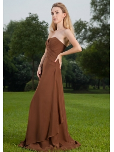 Brown Column Strapless Brush Train Ruch Chiffon Bridesmaid Dress