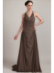 Brown Column V-neck Brush Train Chiffon Beading Mother of the Bride Dress