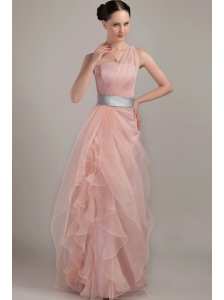 Light Pink Column / Sheath One Shoulder Floor-length Organza Ruffles Prom Dress