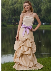 Champagne Column Strapless Brush Train Taffeta Sash Bridesmaid Dress
