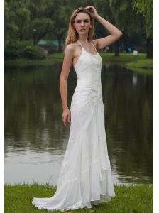 Elegant Empire Halter Sweep / Brush Train Chiffon Embroidery Wedding Dress