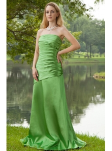 Spring Green A-line Strapless Brush Train Taffeta Ruch Bridesmaid Dress