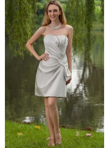 Grey Column / Sheath Strapless Mini-length Satin Ruch Bridesmaid Dress