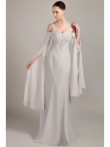 Grey Column / Sheath Wide Straps Brush Train Chiffon Beading Mother Of The Bride Dress
