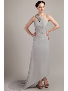 Grey Empire One Shoulder Brush Train Chiffon Ruch Prom Dress