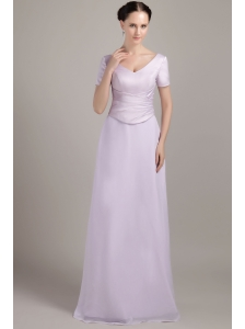 Lilac Column / Sheath V-neck Floor-length Chiffon Ruch Mother Of The Bride Dress