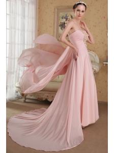 Baby Pink A-Line / Princess Strapless Brush Train Chiffon Beading and Hand Made Flowers Prom / Evening Dress