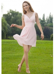Baby Pink Empire V-neck Mini-length Chiffon Ruch Bridesmaid Dress