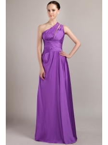 Purple Empire One Shoulder Floor-length Taffeta Beading Prom Dress
