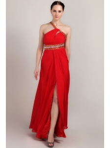 Red Empire One Shoulder Ankle-length Chiffon Rhinestone Prom Dress