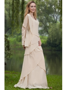 Simple Column Square Floor-length Chiffon Mother of the Bride Dress