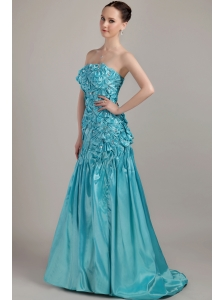 Teal A-line Strapless Brush Train Taffeta Beading and Ruch Prom Dress